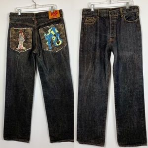 Martin Ksohoh Jeans Re Monkey Embroidered Cotton